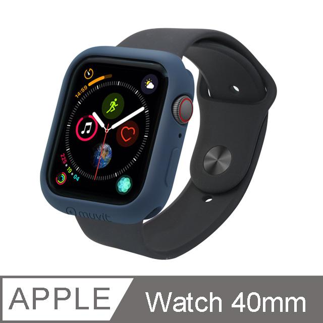 MUVIT Apple Watch Series4 (40mm)耐衝擊保護殼-午夜藍
