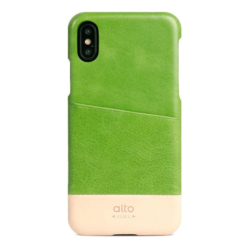 Alto|iPhone X / Xs 皮革保護殼 Metro – 萊姆綠/本色