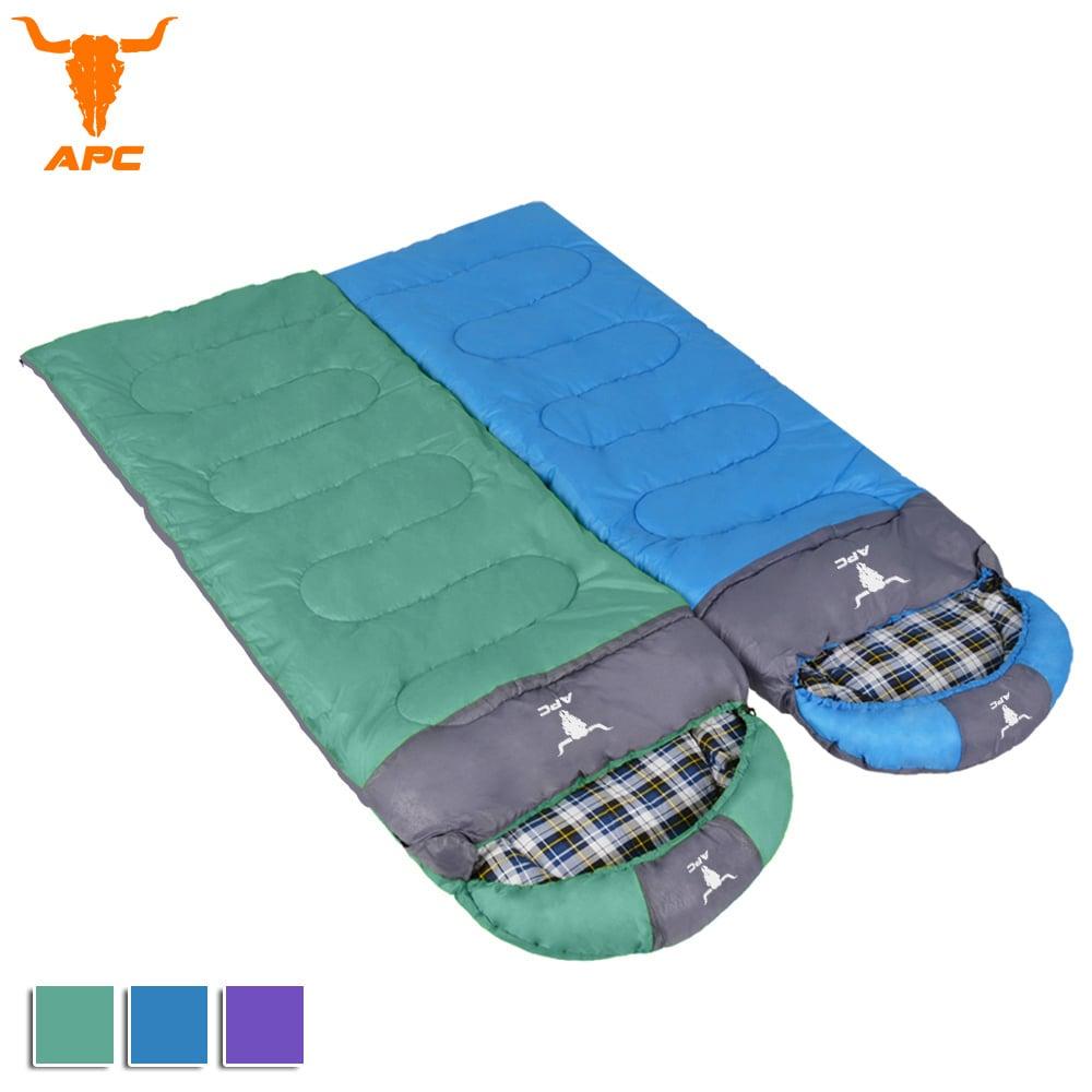 APC《純棉格子》秋冬加寬可拼接全開式睡袋-綠色+藍色