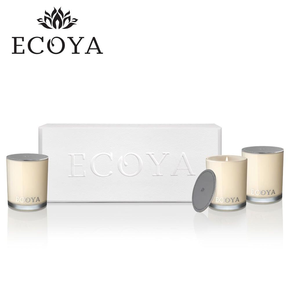 澳洲ECOYA 經典迷你水晶香氛蠟燭3入禮盒(高雅蓮香80g+甜豌茉莉80g+法式梨香80g)