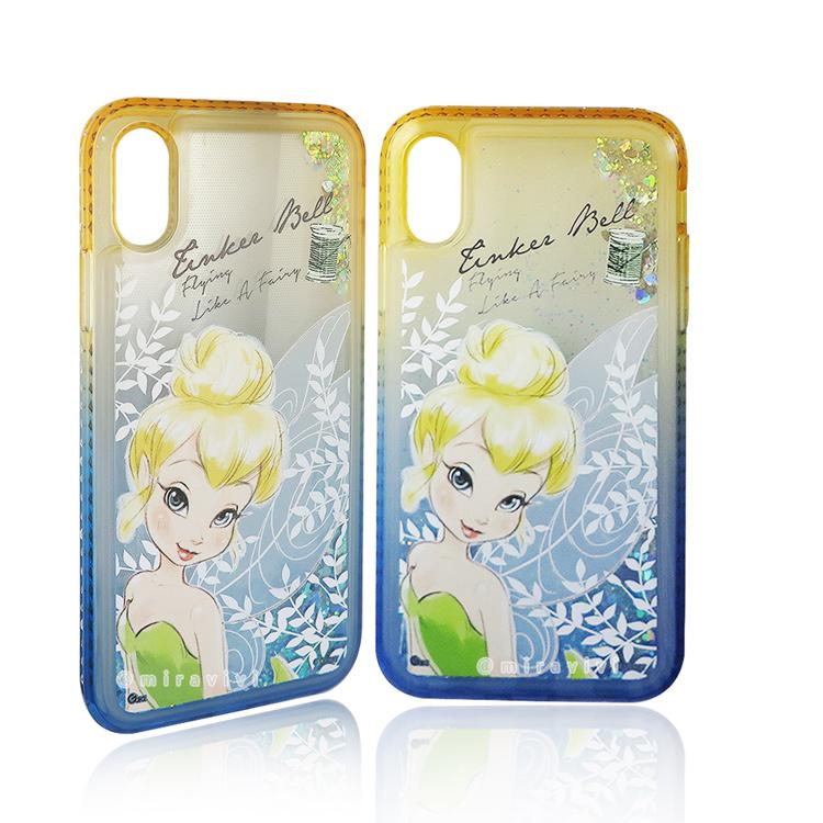 Disney迪士尼iPhone X/XS閃亮流沙水鑽漸層雙色保護殼套_唯美小仙子
