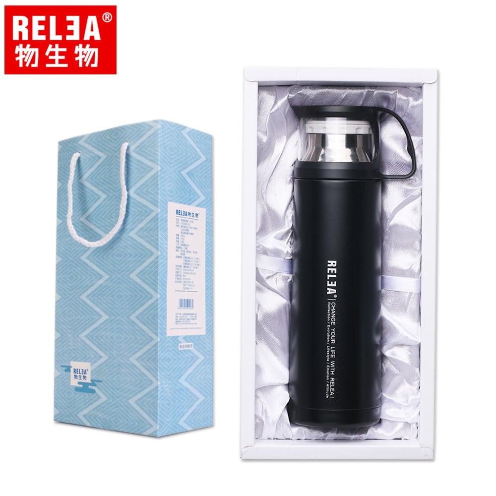 【香港RELEA物生物】450ml舒享雙層真空保溫保冷杯(酷感黑)