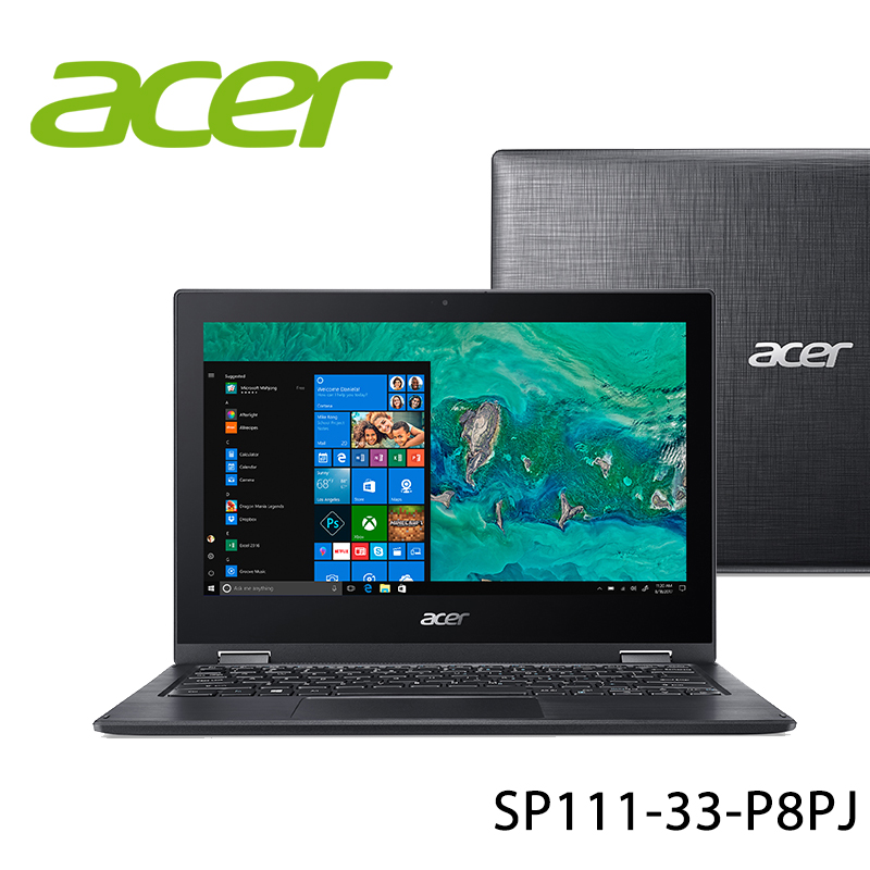 【ACER宏碁】SP111-33-P8PJ 黑 11.6吋 筆電-送無線鼠+電腦除塵刷(贈品隨機出貨)