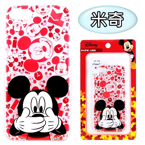 【Disney】iPhone 7 (4.7吋) 摀嘴系列 彩繪透明保護軟套(米奇)