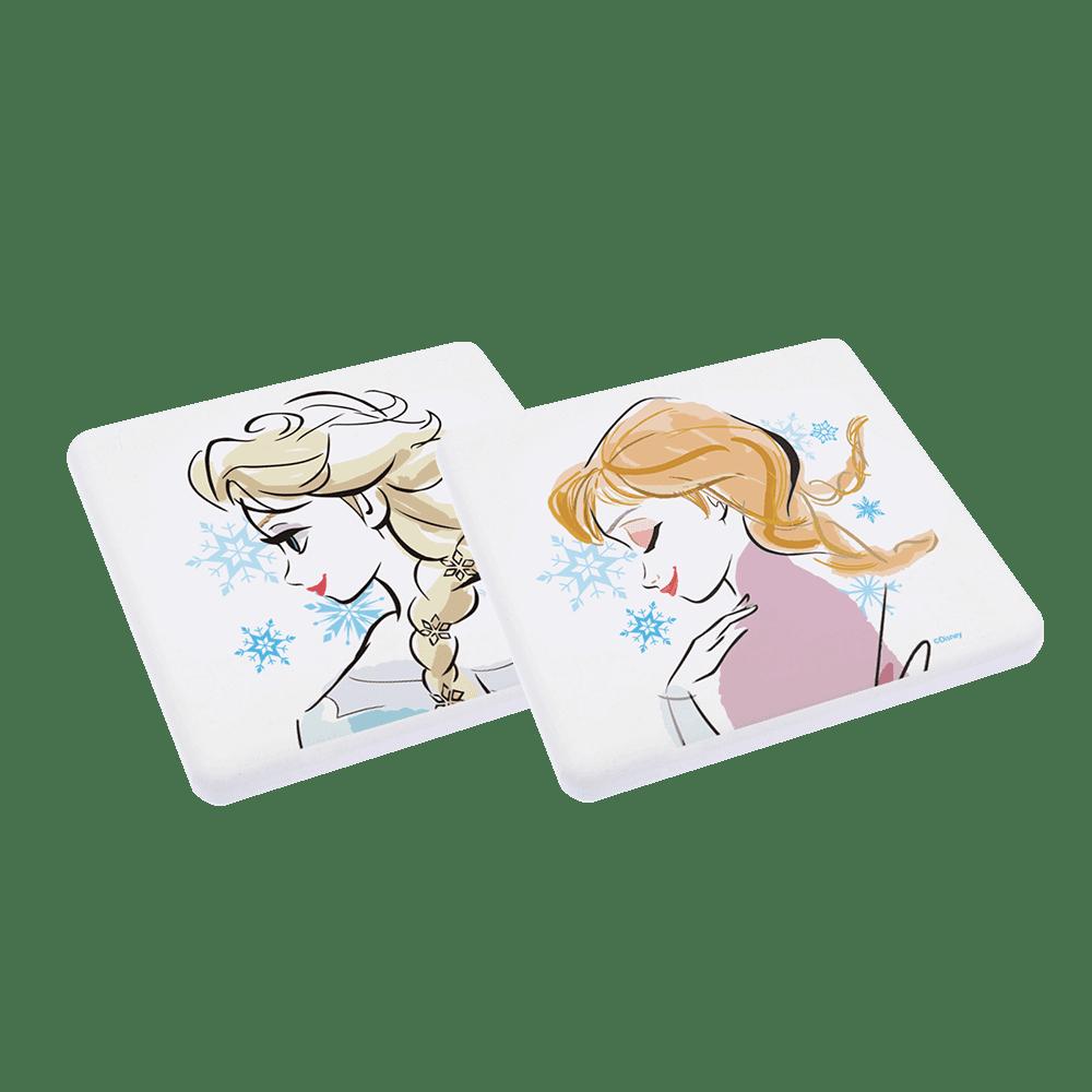 【收納王妃】迪士尼冰雪奇緣1系列 珪藻土吸水杯墊10x10x0.9(側臉姊妹)