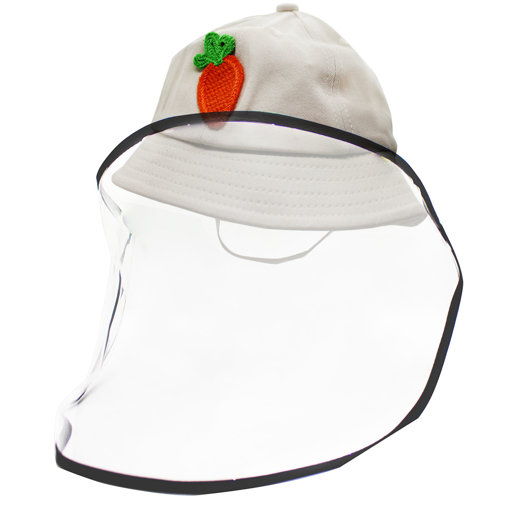 O'Pretty 歐沛媞 多功能兒童防疫防護面罩(帽圍52cm)-蘿蔔布製漁夫帽款