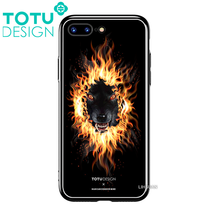 【TOTU台灣官方】鋼化 玻璃 背板 iphone7plus iphone8plus i7+ i8+ 手機殼 防摔殼 四角 全包 軟邊 掛繩孔 暗黑狼頭
