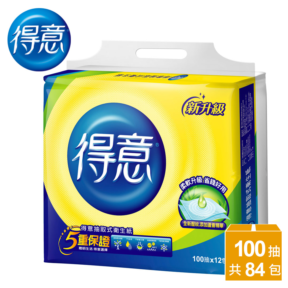 【得意】連續抽取式花紋衛生紙100抽x12包x(6+1)袋/箱