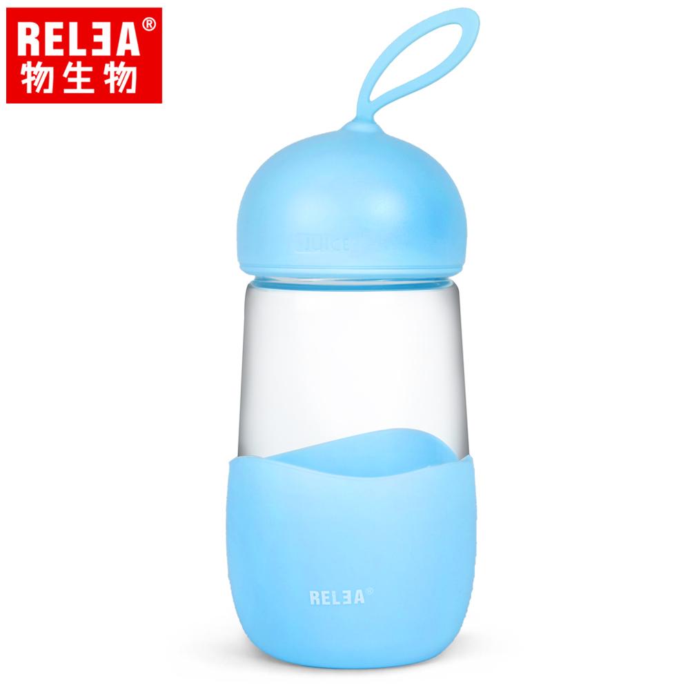 【香港RELEA物生物】400ml妙可耐熱玻璃防燙隨身杯(冰沙藍)