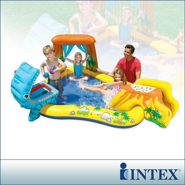 【INTEX】恐龍噴水戲水游泳池/小滑水道 249x191cm (216L)(57444)