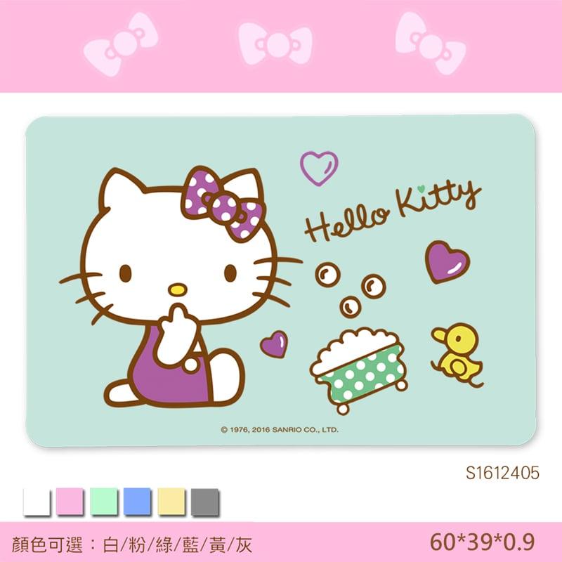 【三麗鷗獨家授權】Hello Kitty珪藻土吸水地墊//歡樂澡堂-綠