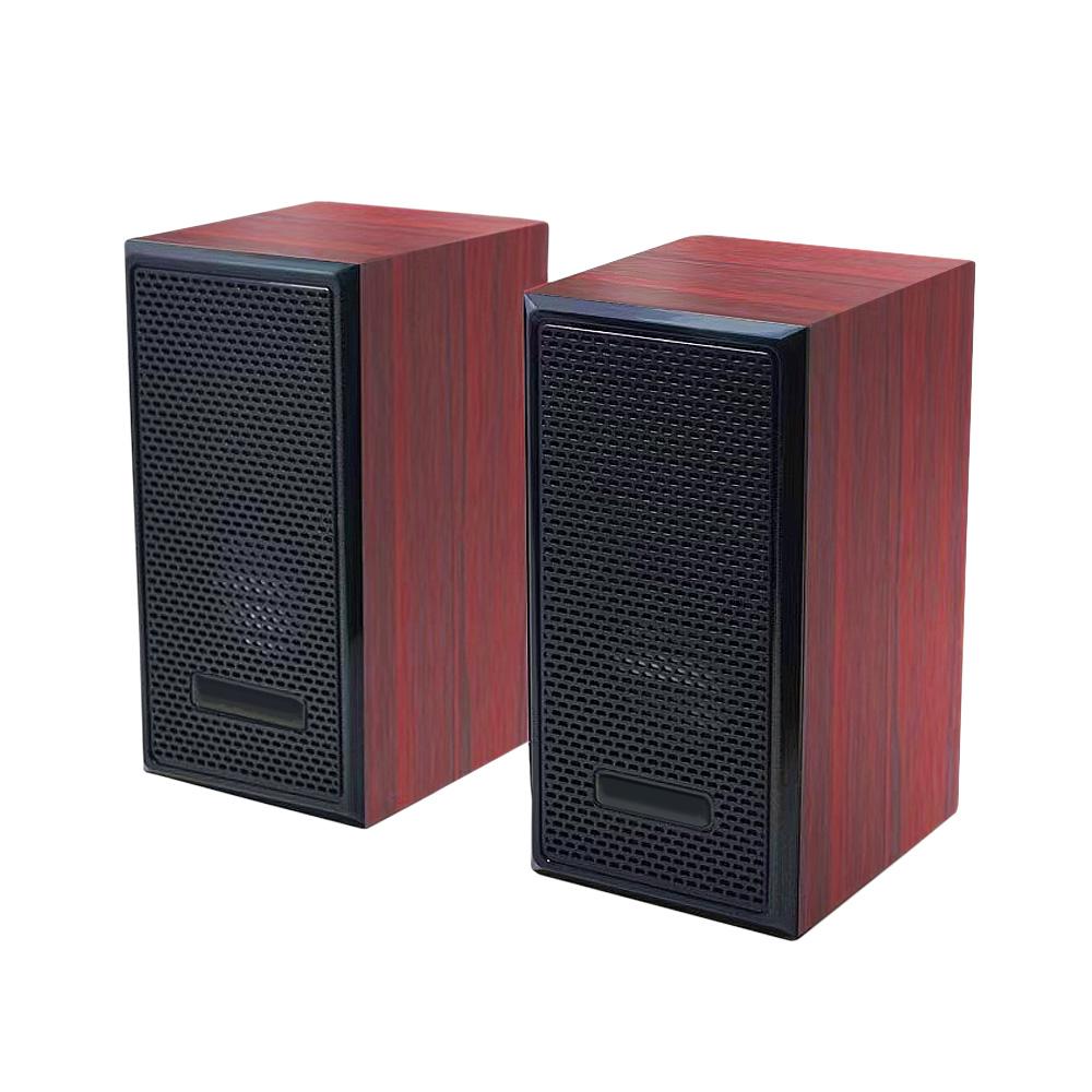 FJ F07重低音立體聲木質有線喇叭 紅紋木