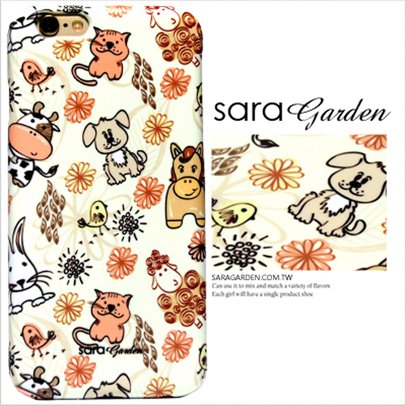 【Sara Garden】客製化 手機殼 蘋果 iPhone6 iphone6S i6 i6s 手繪 可愛 動物 碎花 硬殼 限定