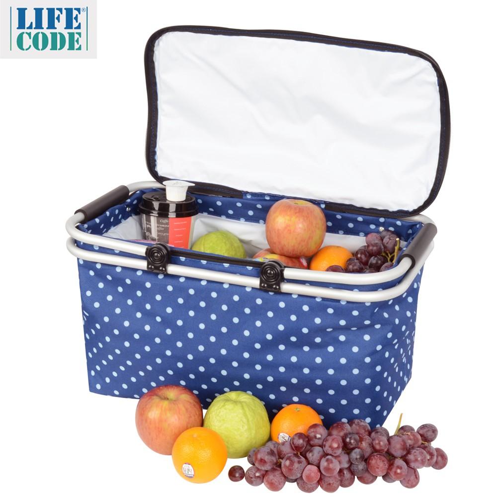 LIFECODE《點點風》鋁合金折疊保冰袋/野餐提籃-藍色
