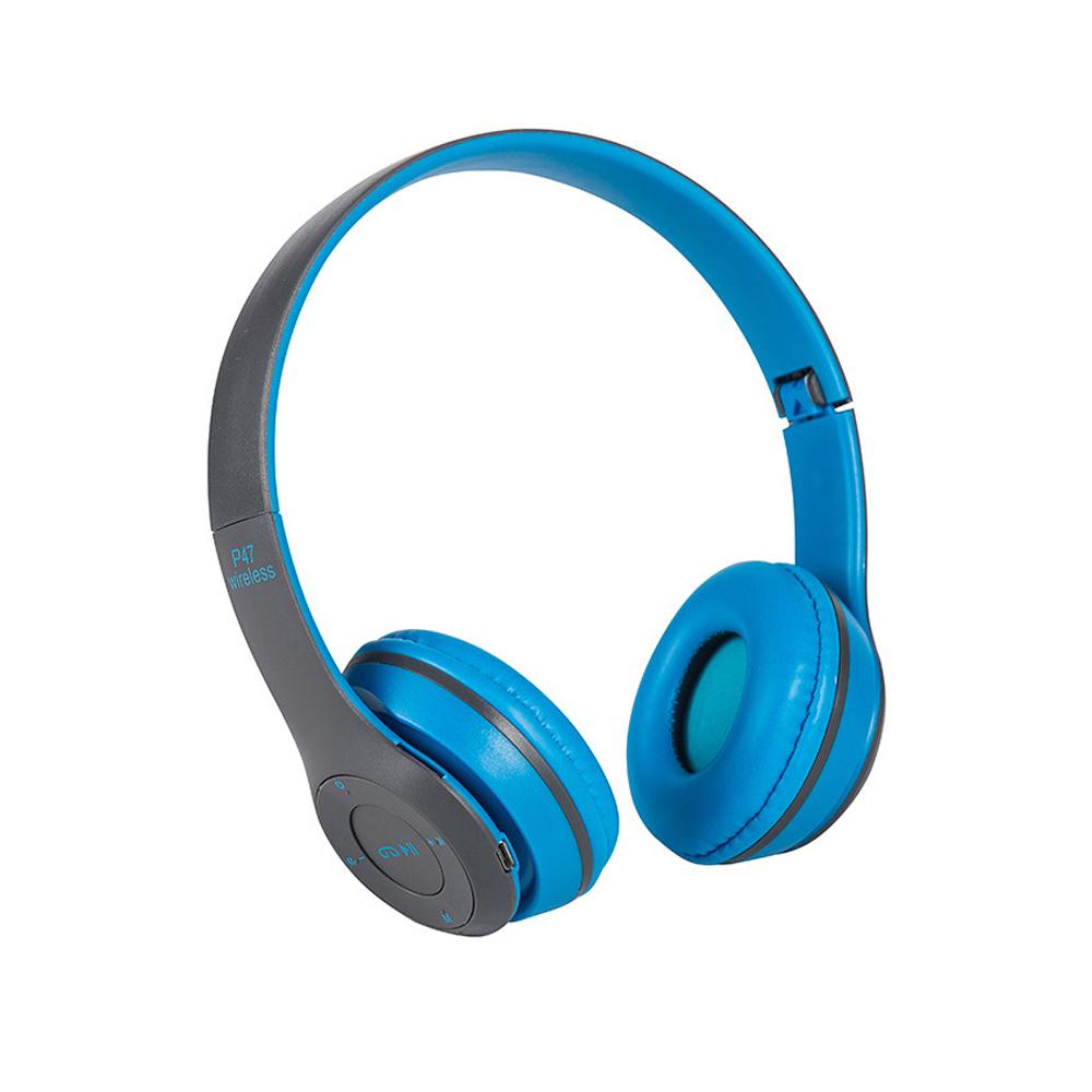 立體HIFI雙聲道 重低音 耳罩式藍牙耳機-藍色