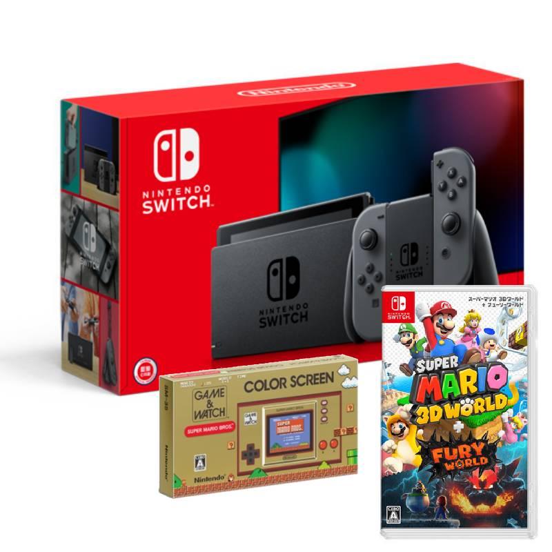 Nintendo Switch主機灰黑(電池加強版)+GAME&WATCH超級瑪利歐兄弟+超級瑪利歐3D世界+狂怒世界中文版