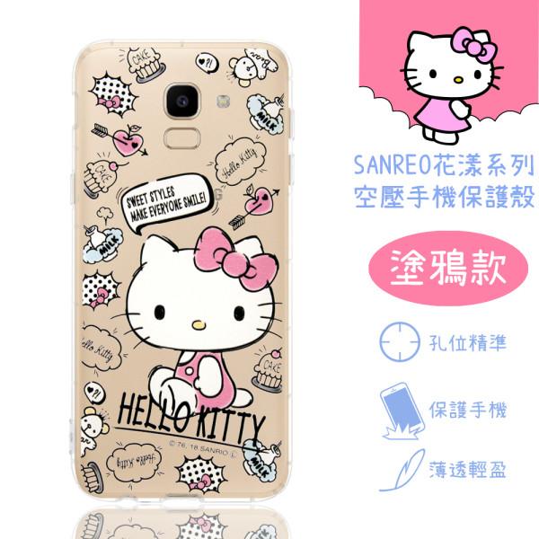 【Hello Kitty】Samsung Galaxy J6 花漾系列 氣墊空壓 手機殼(塗鴉)
