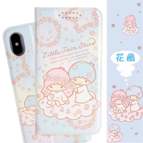 【雙子星】iPhone XS /X (5.8吋) 甜心系列彩繪可站立皮套(花圈款)