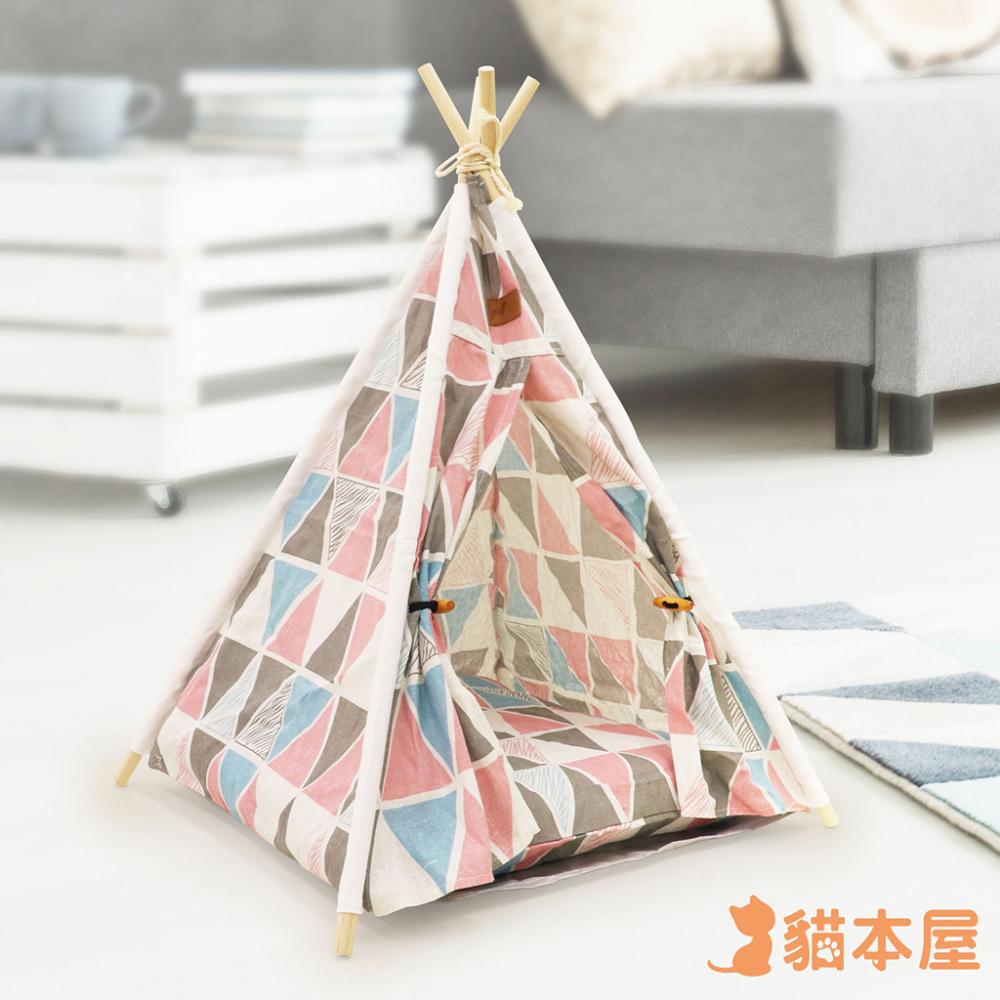 貓本屋 狗窩/貓窩 可拆洗四季通用 四角型亞麻寵物帳篷-粉三角