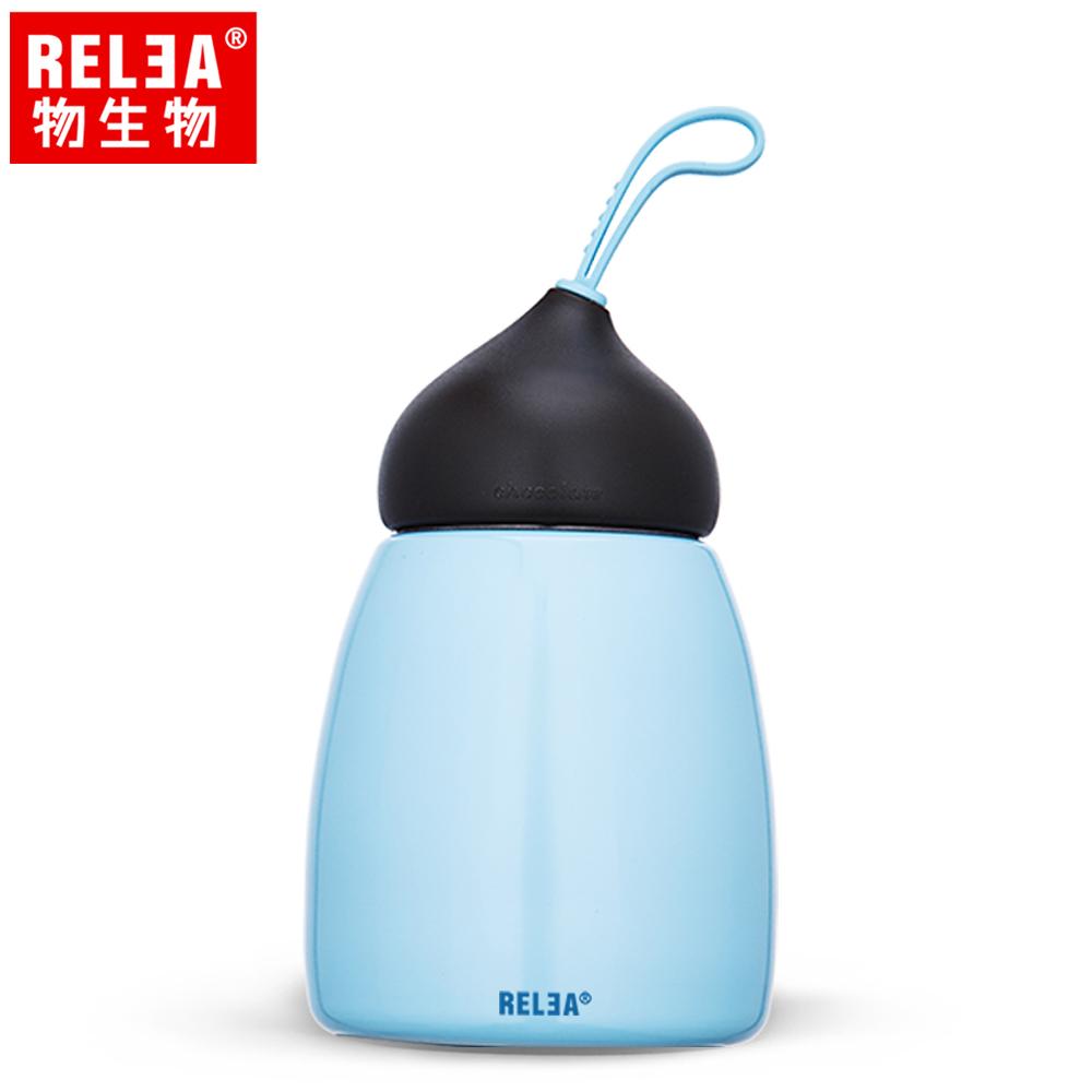 【香港RELEA物生物】好時光#304不鏽鋼可可保溫杯260ml(天空藍)