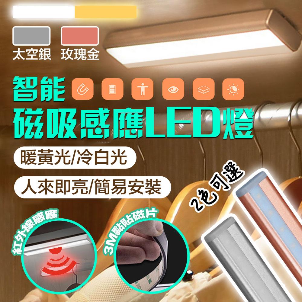 【新一代】智慧磁吸LED居家生活感應燈/衣櫥燈-銀色黃光