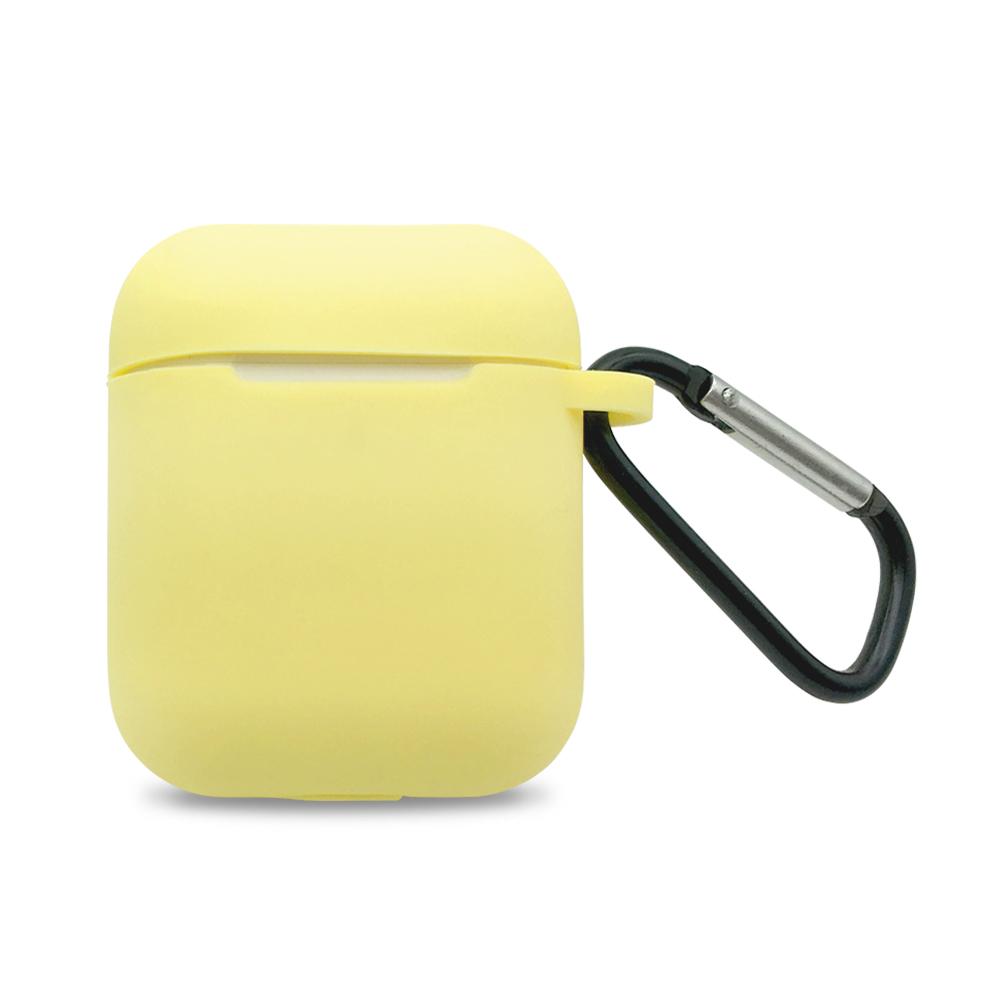 AirPods 矽膠保護套 附扣環-檸檬黃