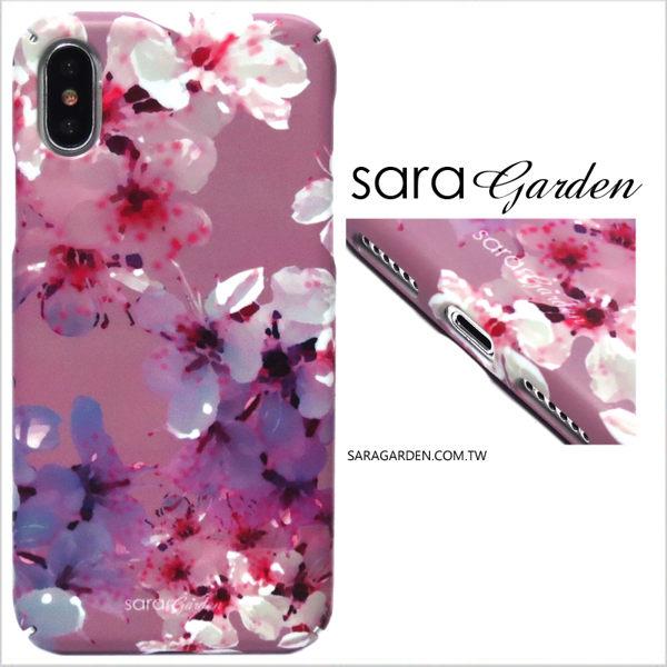 【Sara Garden】客製化 全包覆 硬殼 蘋果 iphone7plus iphone8plus i7+ i8+ 手機殼 保護殼 粉紫碎花櫻花