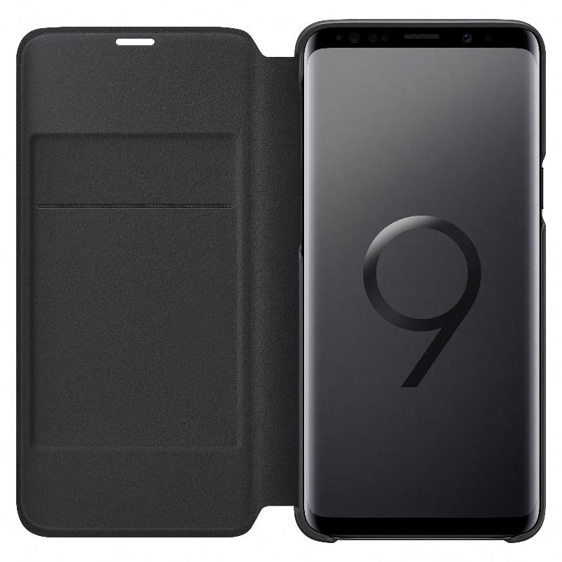 SAMSUNG Galaxy S9+ LED皮革翻頁式皮套 黑色