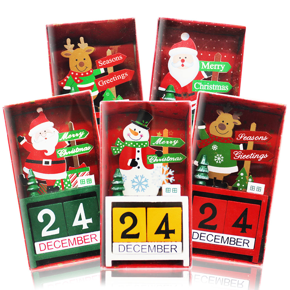歐沛媞 聖誕木質倒數日曆/月曆/萬年曆-老人A款(8x3.5x15cm)-耶誕新年交換禮物