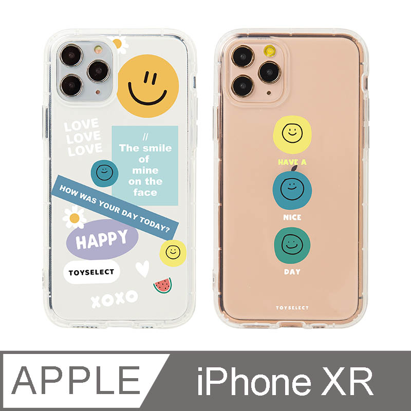 iPhone XR 6.1吋 Smilie微笑淡彩 拼貼透明防摔iPhone手機殼 拼貼