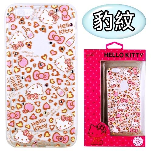 【Hello Kitty】iPhone6 /6s 彩鑽透明保護軟套(豹紋)