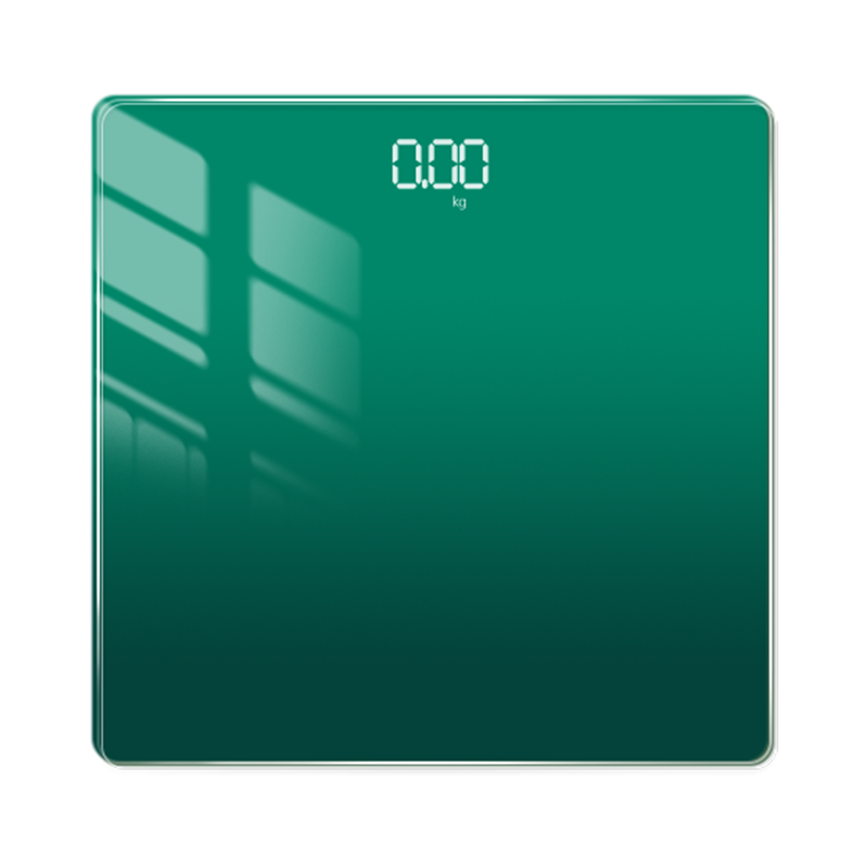 MTK雙色版極光漸變鋼化玻璃智能體重計A2(可下載APP觀看)深綠色