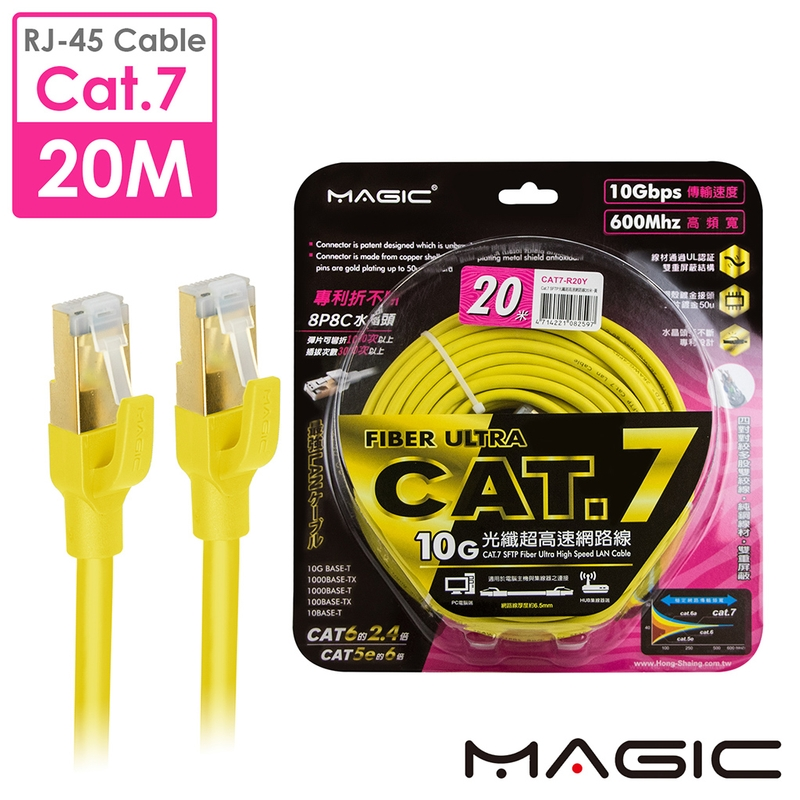 MAGIC Cat.7 SFTP圓線 26AWG光纖超高速網路線(專利折不斷接頭)-20M