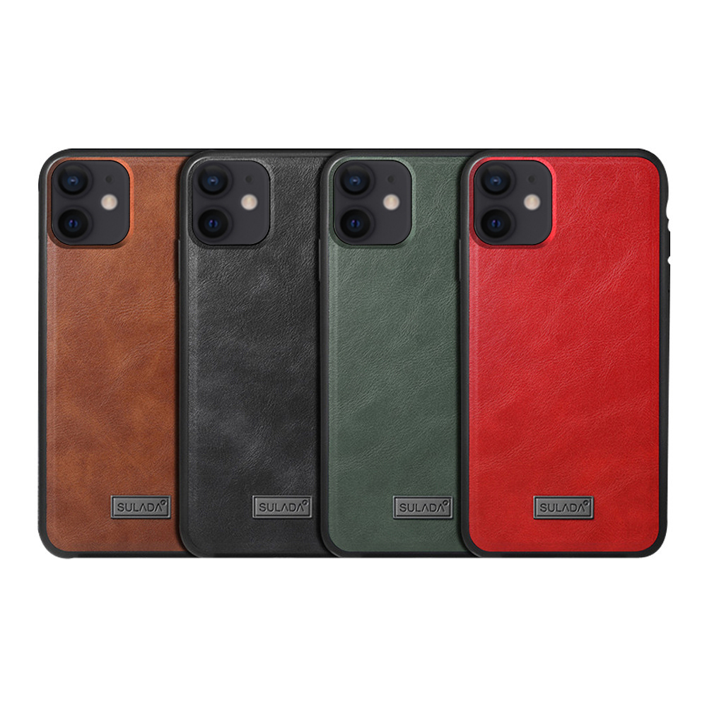 SULADA Apple iPhone 12 mini 君尚皮紋保護套(紅色)