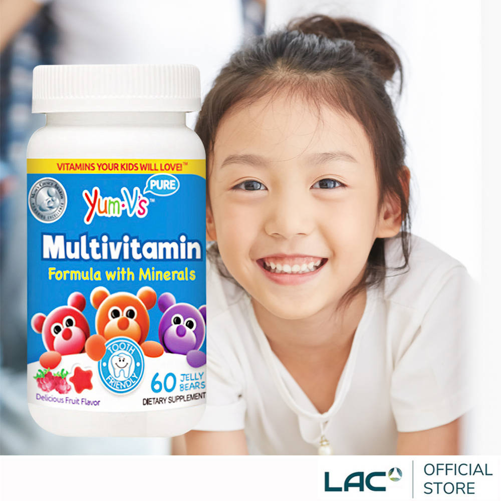 【LAC利維喜】YUM-V'S 快樂熊綜合維他命軟糖60顆-水果口味