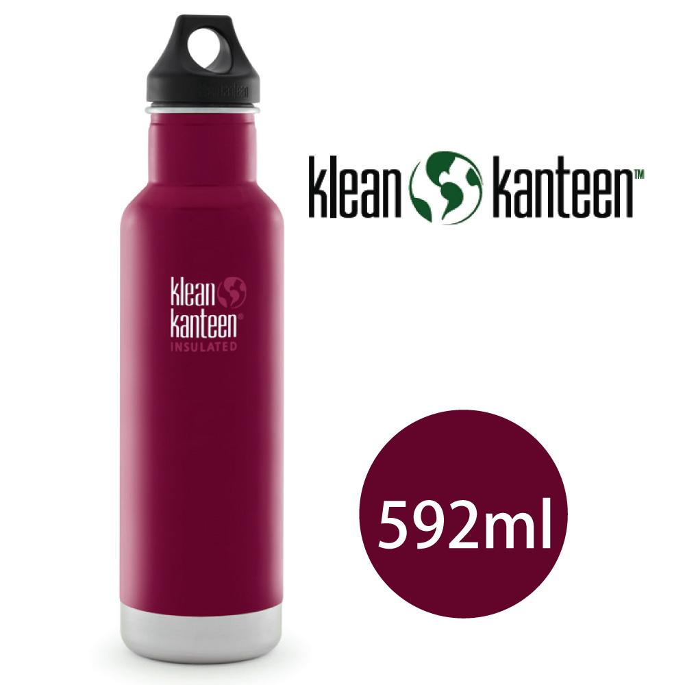 【美國Klean Kanteen】窄口不鏽鋼保溫瓶-592ml-甜菜紅