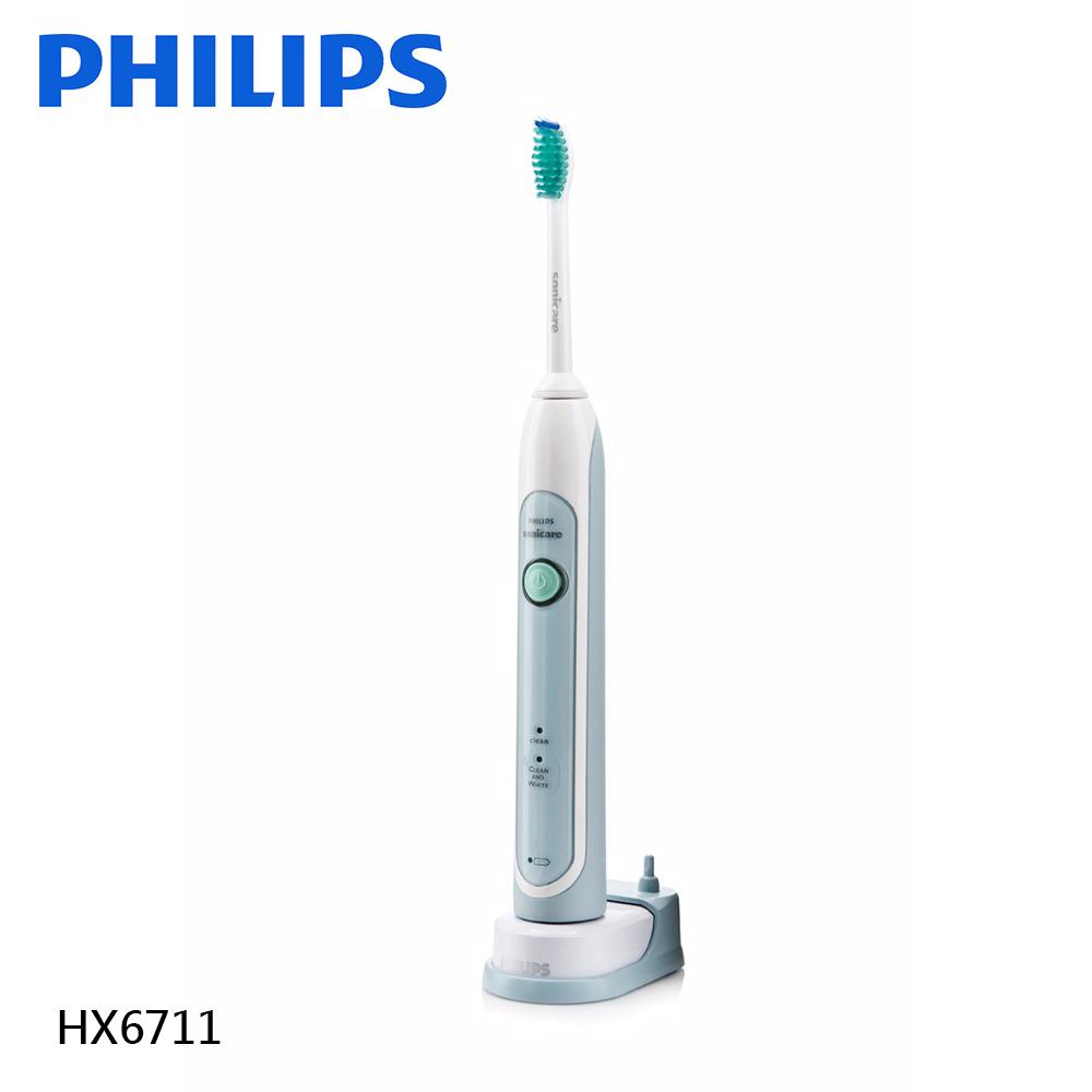 【PHILIPS 飛利浦】音波震動美白牙刷 HX6711