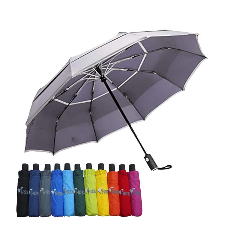 【HOSA】安全雙反光自動傘-灰色