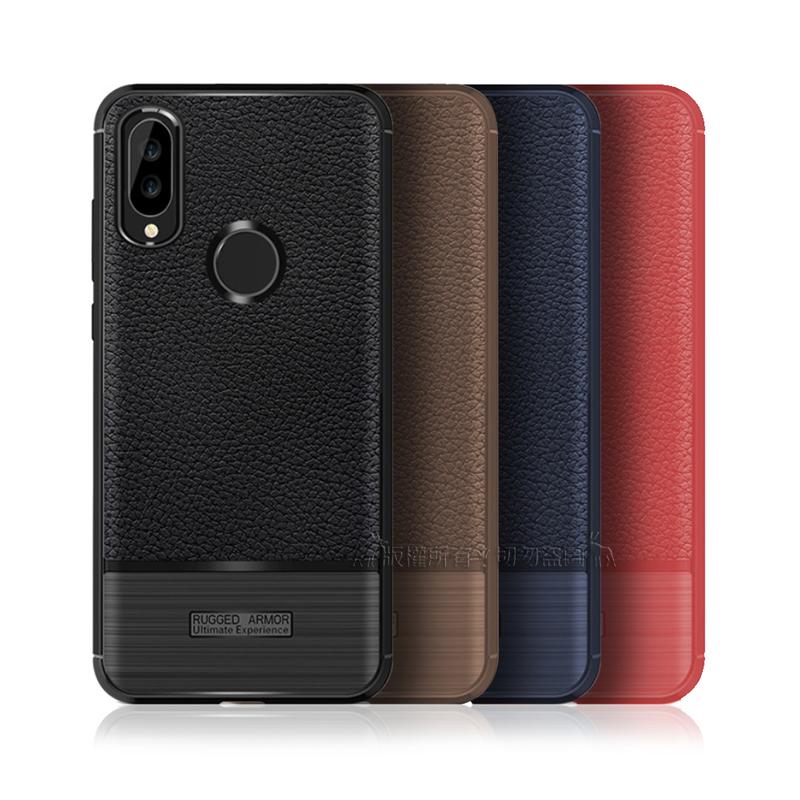 VXTRA 華為 Huawei Nova 3e 防滑手感皮紋 軟性手機殼 (純黑)