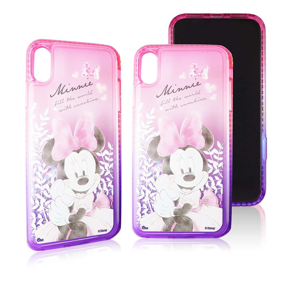 Disney迪士尼iPhone Xs Max閃亮流沙水鑽漸層雙色保護殼套_唯美米妮