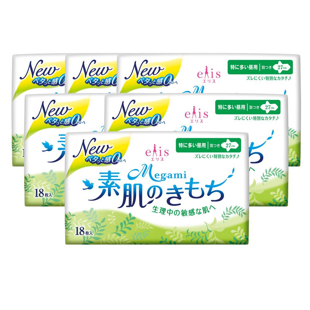 【大王elis】愛麗思清爽零感日用蝶翼27cm(18片/包)X6包