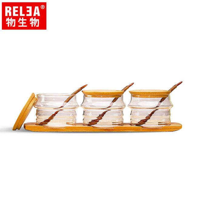 【香港RELEA物生物】耐熱玻璃調味罐3件套裝組含竹蓋、木勺、竹木底盤