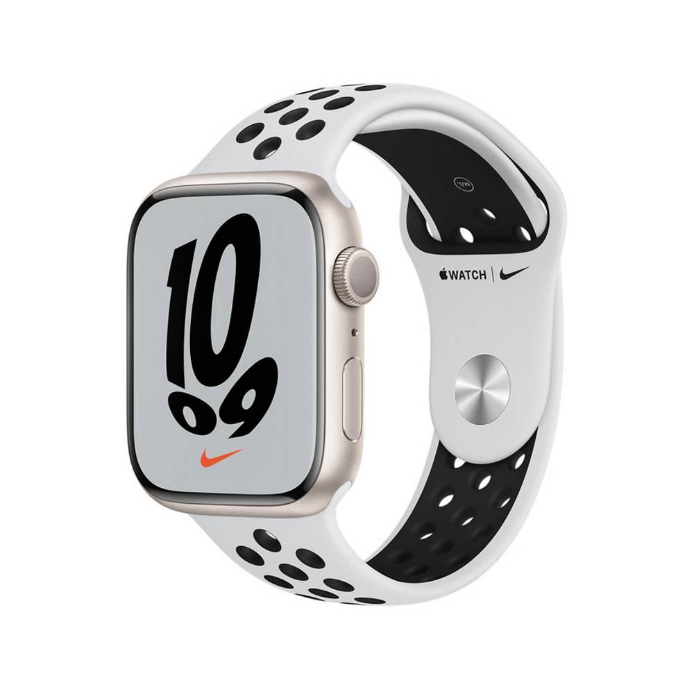 Apple Watch S7 GPS 45mm 星光鋁金屬-Pure Platinum 黑色 Nike 運動型錶帶【預約賣場】