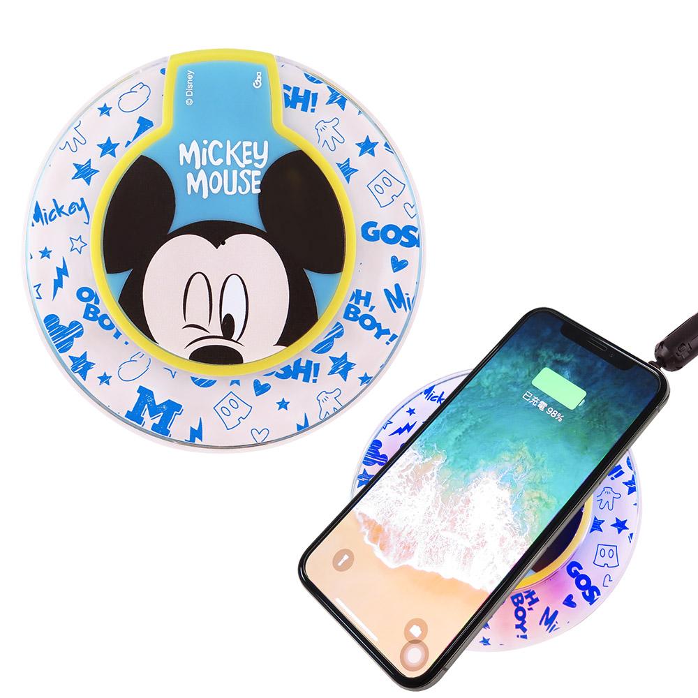 Disney迪士尼 透明水晶無線充電座/充電板_大臉米奇