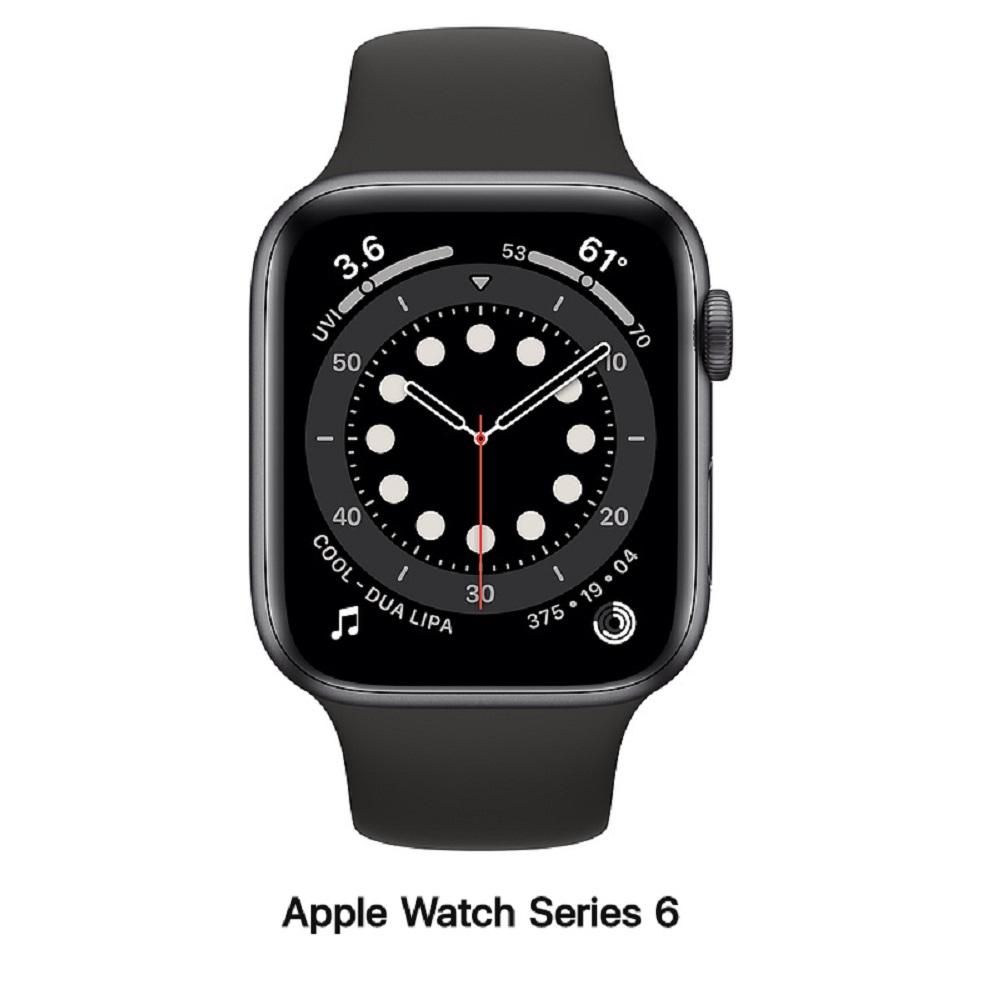 【血氧檢測】Apple Watch S6 44mm GPS版 太空灰鋁錶殼配黑運動錶帶(M00H3TA/A)