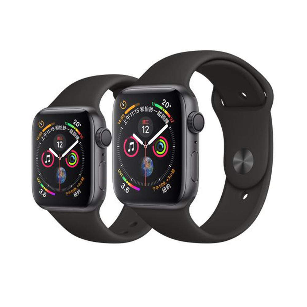 Apple Watch Series4 40mm GPS版太空灰鋁金屬錶殼配黑色運動錶帶(MU662TA/A)