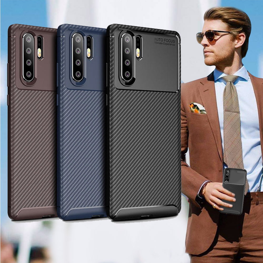 爵士焦點 華為 HUAWEI P30 Pro 碳纖維防指紋軟式手機殼(西洋藍)