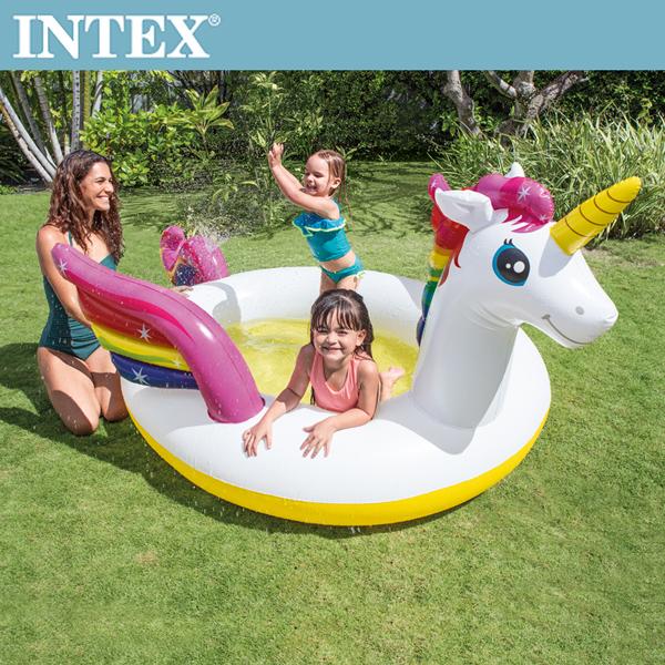 【INTEX】獨角獸噴水戲水游泳池(272*193*104cm)(151L)適用2歲+(57441)