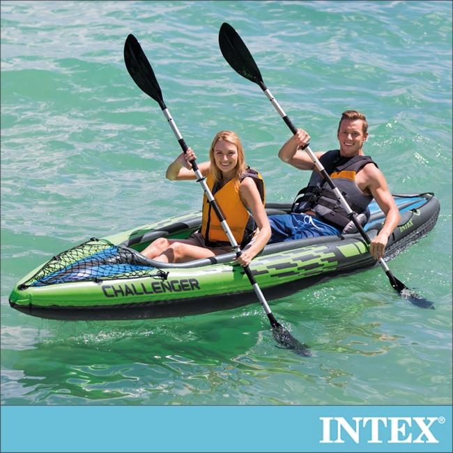 【INTEX】挑戰者K2-雙人運動獨木舟/橡皮艇 (附雙漿+手壓幫浦)(68306)