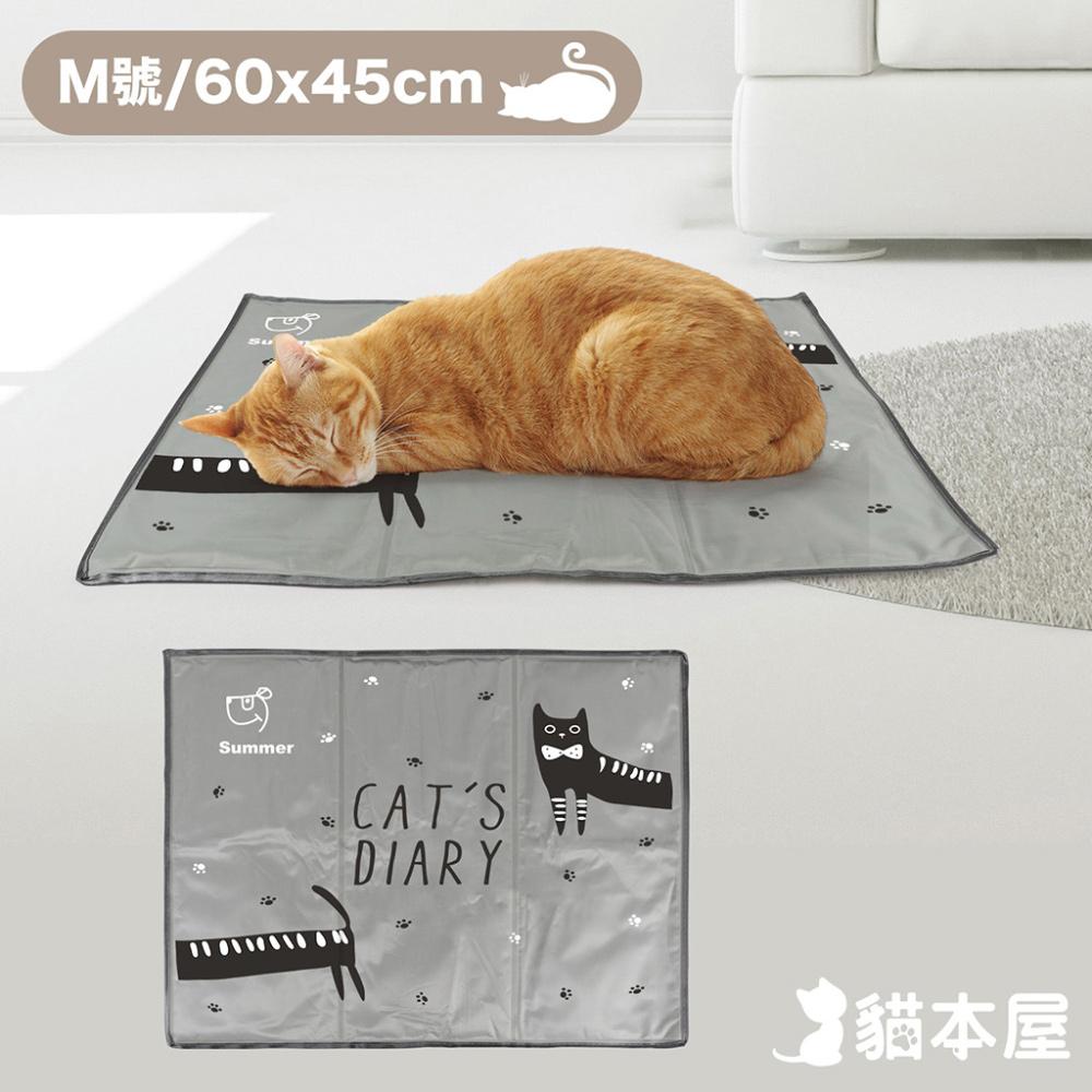 貓本屋 冰晶軟凝膠 寵物降溫墊(M號/60x45cm)-灰貓